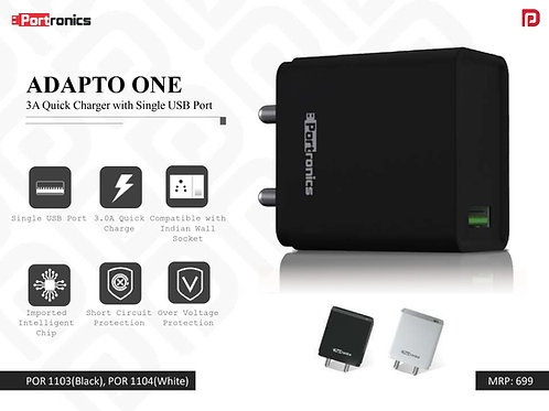 ADAPTO ONE 3A Quick Charger with Single USB Port POR-1103