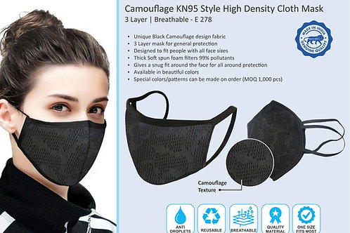 Camouflage KN95 style high density cloth mask | 3 layer | Breathable E-278