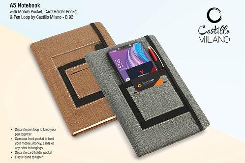 A5 notebook with mobile pocket, card holder pocket & pen loop B-92