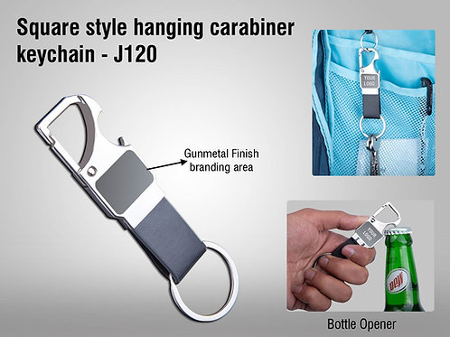 3 in 1 hanging carabiner keychain with opener | Gunmetal finish J-120