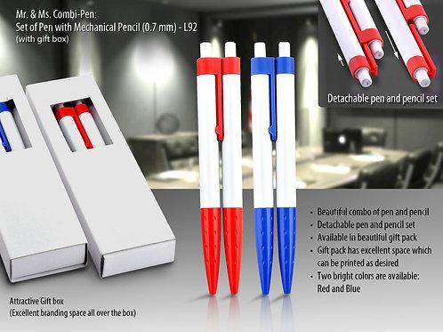 Mr & Ms. Combi-pen: Set of Pen with mechanical pencil (0.7 mm) L-92