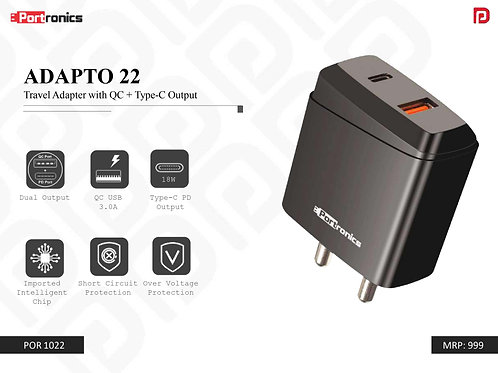 ADAPTO 22 Travel Adapter with QC + Type-C Output POR-1022