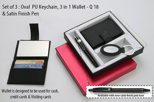 Set of 3 : Oval PU Keychain (J69), 3 in 1 wallet (For cash, cards Q-18