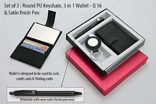 Set of 3 : Round PU Keychain (J68), 3 in 1 wallet Q-16