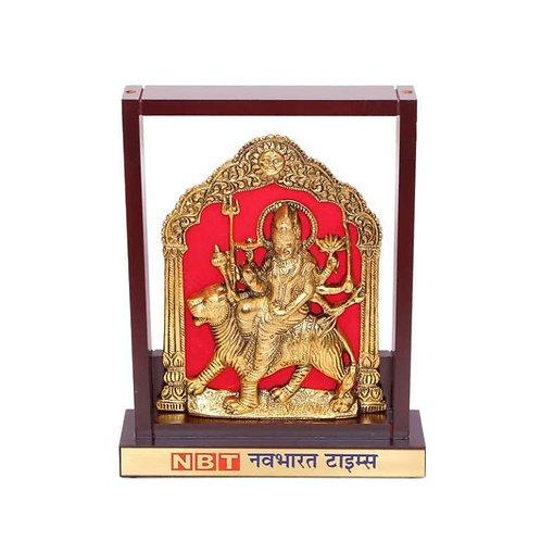 Durga Mata (Brass Finish) in Wooden Frame MP-93 C