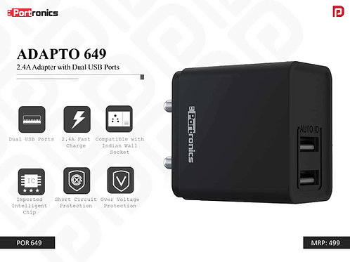 ADAPTO 649 2.4A Adapter with Dual USB Ports POR-649