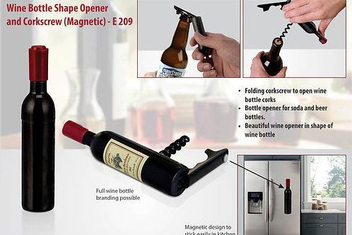 Wine bottle shape opener and corkscrew (magnetic) E-209