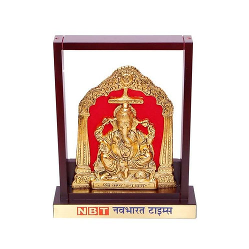 Ganesh Ji (Brass Finish) in Wooden Frame MP-93