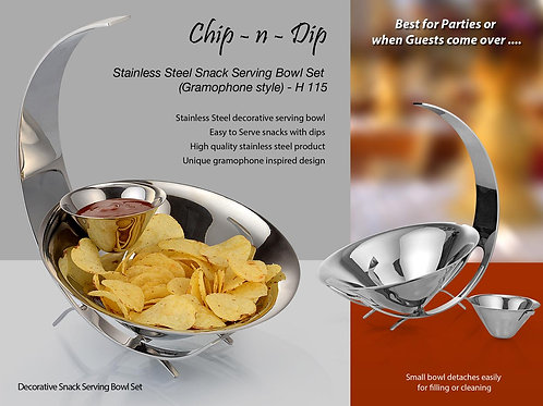 SS Chip n Dip set of Large & small bowl (Gramophone style) H-115