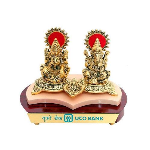 Laxmi Ganesh Ji (Brass Finish) With Diya in Wooden Base MP-73