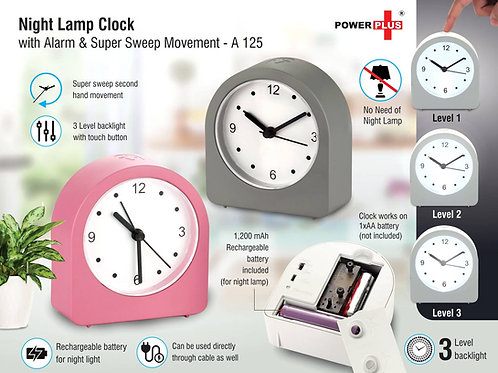 Night lamp clock with Alarm and Super Sweep movement   Rechargeable Lamp A-125