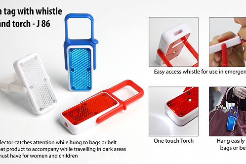 Flash tag with whistle and torch (with reflector) J-86