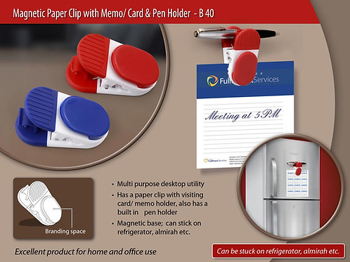 Magnetic Paper clip with memo/card and pen holder B-40