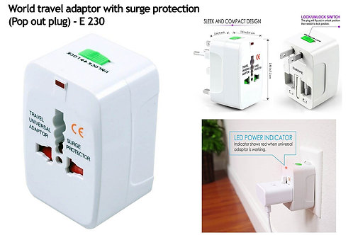 World travel adaptor with surge protection   Pop out plug (square) E-230