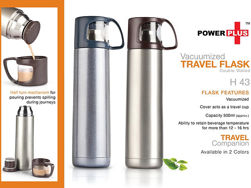 Power Plus Vacuumized travel flask (500 ml approx) H-43