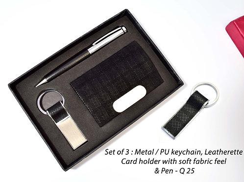 Set of 3 : Metal / PU keychain with soft fabric feel (J100) Q-25