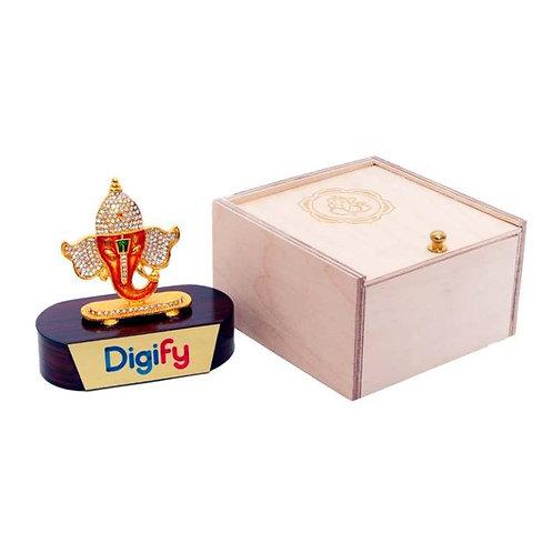 Ganesh Ji (Brass Finish) On Wooden Base in Wooden Box MP-88