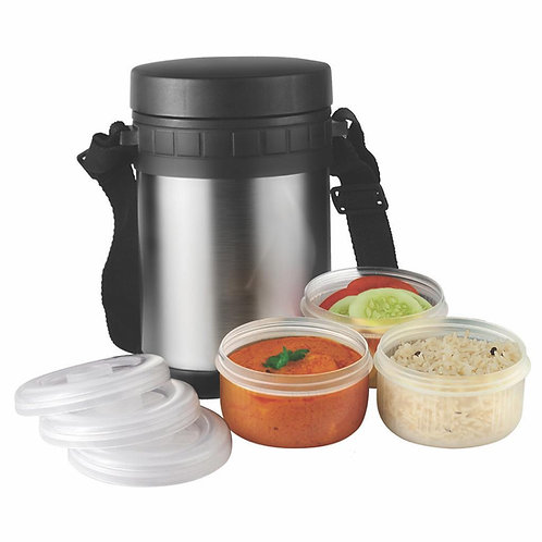 STEEL LUNCH BOX - 3 PLASTIC CONTAINERS GM-318