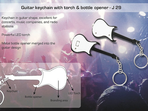 Guitar keychain with torch & bottle opener J-29