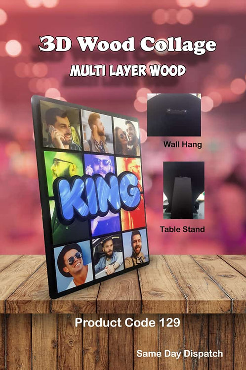 Personalized 3D Wood Collage Photo Frame CI- 97