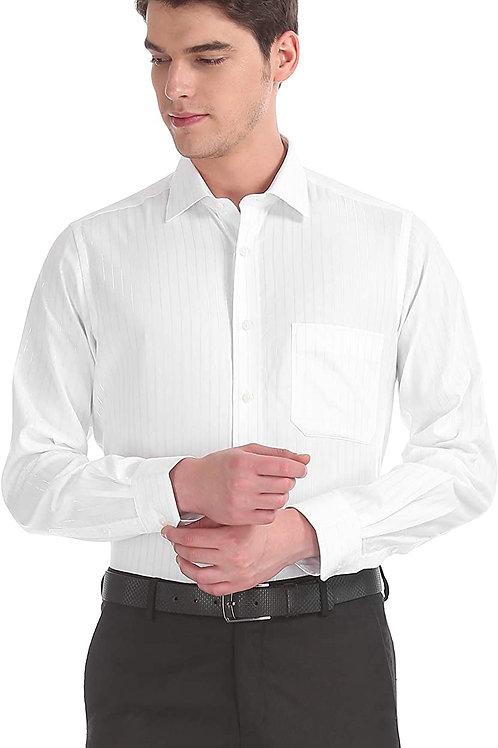 Arrow White Regular Fit Metallic Stripe Shirt CI-AS-16