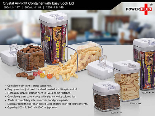 Crystal Air-tight Container with Easy Lock Lid (500 ml) by Power Plus H-147