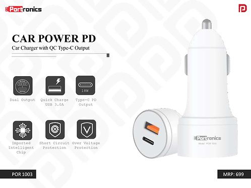 CAR POWER PD Car Charger with QC Type-C Output POR-1003