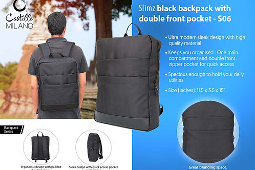 Slimz black backpack with double front pocket by Castillo Milano S-06