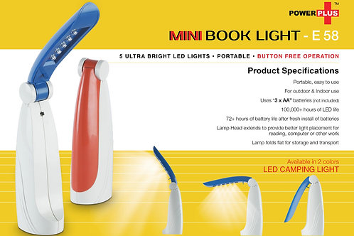 Power Plus Book Reading Light (New Packing) E-58