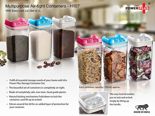 Multipurpose Air-tight Containers with Easy Lock Lid (Set of 3) H-107