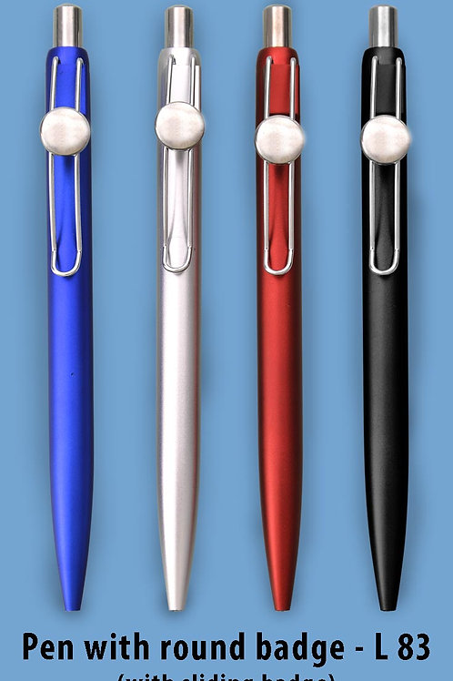 Pen with round badge L-83