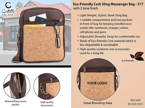 Eco-Friendly Cork Sling Messenger Bag with 2 tone finish S-17