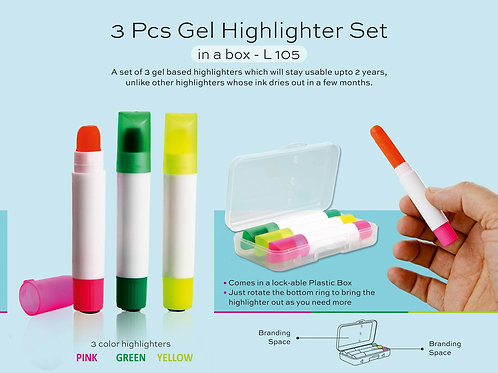 3 pc gel highlighter set in a box L-105