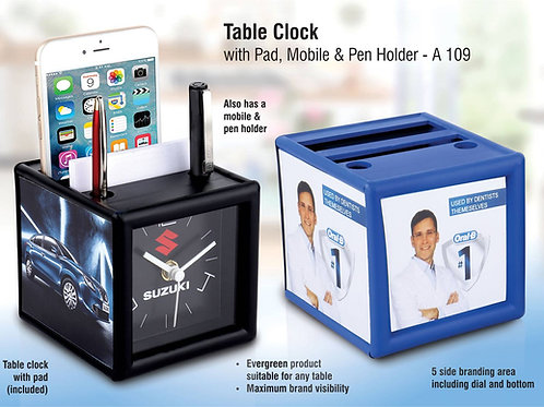 Table clock with pad and mobile holder (4 Side branding area) A-109