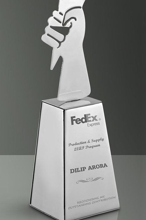 SS Small Flame trophy with base F-05