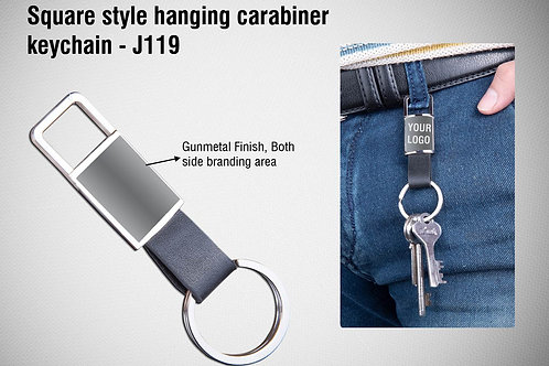 Rectangle style hanging carabiner keychain (with PU strap) J-119