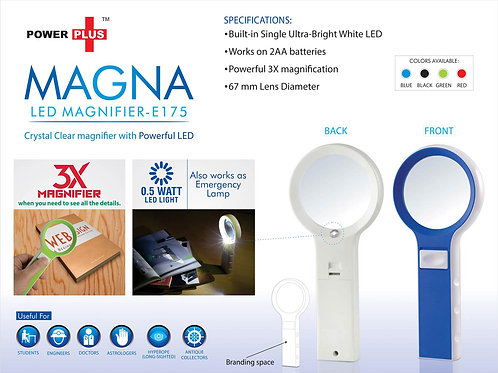 Power Plus Magna: Magnifier With Lamp Function( With Half Watt LED) E-175