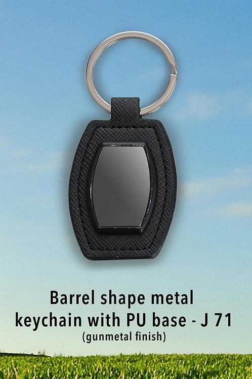 Barrel shape metal keychain with PU base (gunmetal finish) J-71