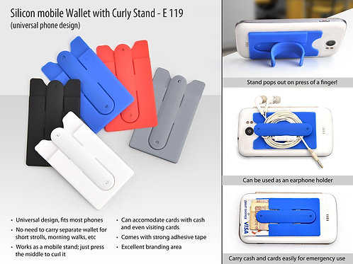 Silicon mobile wallet with curly stand E-119