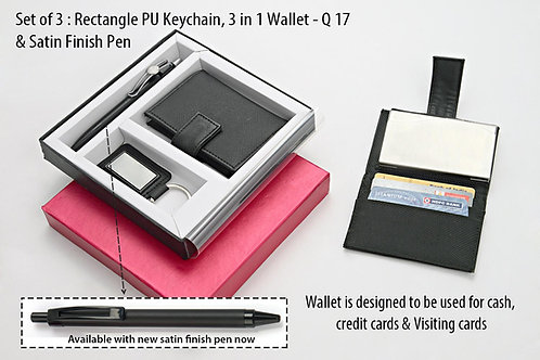 Set of 3 : Rectangle PU Keychain (J70), 3 in 1 wallet Q-17