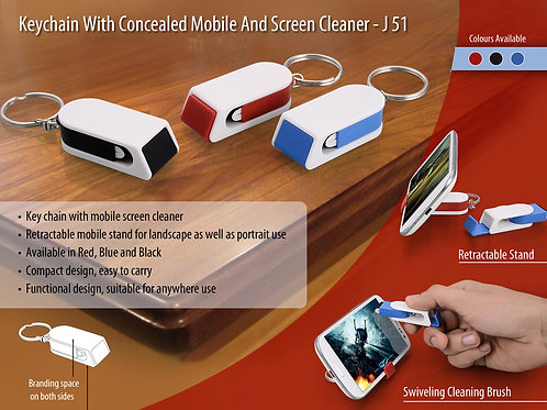 Keychain with concealed mobile stand and screen cleaner J-51