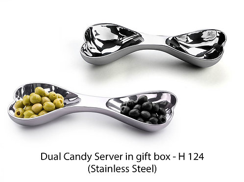 Stainless steel Dual Candy Server (in gift box) H-124