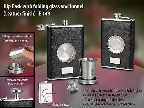 Hip flask with folding glass and funnel (Leather finish) E-149