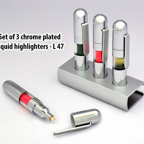 Set of 3 chrome plated liquid highlighters L-47
