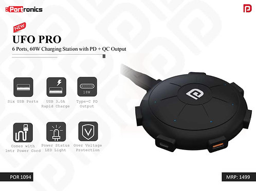 UFO PRO 6 Ports, 60W Charging Station with PD + QC Output POR-1094
