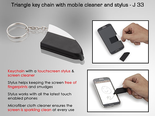 Triangle key chain with mobile cleaner and stylus J-33