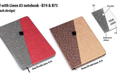 Brown PU with Linen A5 notebook B-75