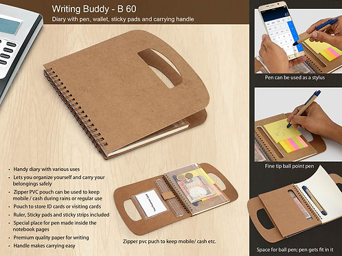 Writing buddy: Diary with pen, wallet, sticky pads and carrying handle B-60