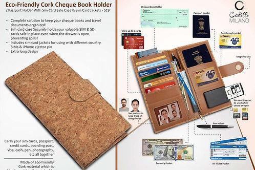 Eco-Friendly Cork Cheque Book Holder / Passport Holder S-19
