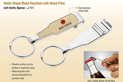 Bottle shape metal keychain with wood plate | with Bottle opener J-111